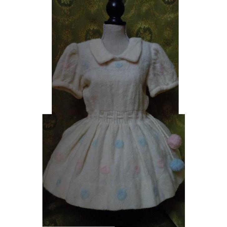 Lovely All Original old woolen dress for huge doll