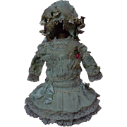 "Gorgeous tiny french Bebe Dress w/ Petticoat Hat Basket for 11"" to 12"" antique cabinet sized bisque doll"