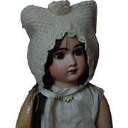 Gorgeous all original antique knitted angora Kitten Bonnet for german bisque french bebe huge doll