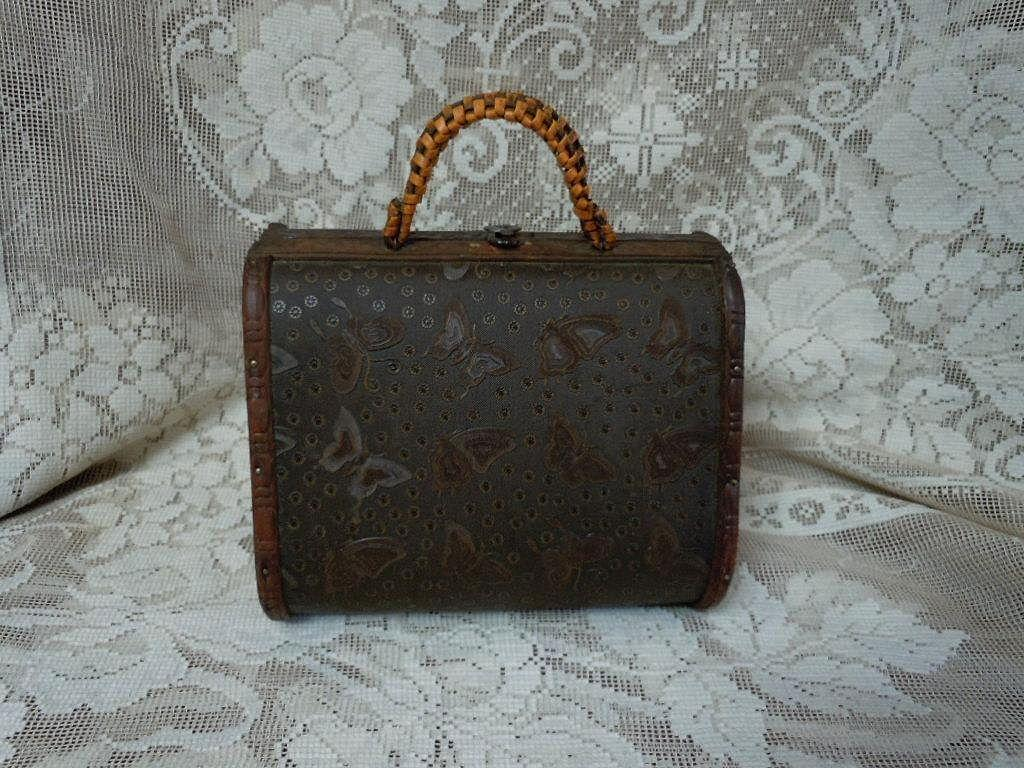 Rare Old Suit Case wood Purse Travel bag Briefcase w/ doll accessories