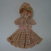 All Original Mid Century Rose Pure Silk Threads knitted Dress Bonnet Booties for tiny cabinet sized doll