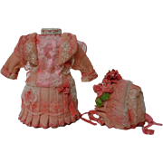 Gorgeous tiny Couturier Costume Coral Dress w/ Petticoat Hat Basket for antique cabinet sized bisque doll