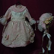 Lovely Rose taffeta Dress Bonnet Tulle petticoat  for antique german bisque doll