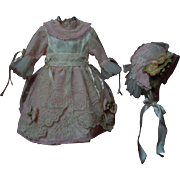 Lovely Rose taffeta Dress Bonnet Tulle petticoat  for antique german bisque doll