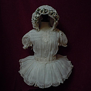 Exquisite  smocked Organza Dress Orange blossoms Hat for antique Jumeau Steiner doll