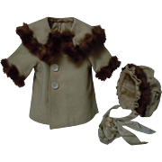 All Original 1920's Jacket Coat and Bonnet w/ real Fur fit for german bisque french bebe doll