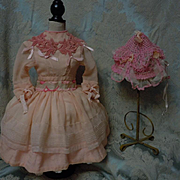 Lovely salmon crepe Dress w/ Petticoat and original Old Cap for german or french bisque doll