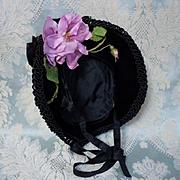 Gorgeous antique velvet Hat for huge french bebe doll