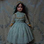 Marvelous aquamarine pure silk Dress w/ Petticoat for french bebe Jumeau Steiner huge doll