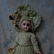 Wonderful french bebe Couturier Dress w/ Petticoat Hat and Basket for antique Jumeau Steiner Bru cabinet size doll