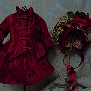 Gorgeous Red Velvet Couturier Dress Jacket Hat for antique french Bebe Jumeau doll