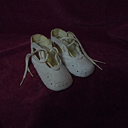 Lovely 1950's genuine leather baby shoes Ideal for huge old doll