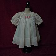 All Original Old 1940's hand smocked organza Dress Batiste Slip for german composition bisque doll