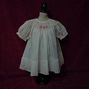 All Original 1940's smocked organza Dress Batiste Slip for composition bisque doll