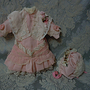 "Beautiful  french Bebe Dress w/ Petticoat Bonnet for 15"" to 17"" antique cabinet sized bisque doll"