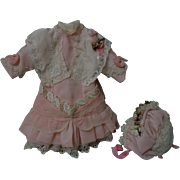 Beautiful Dress w/ Petticoat Bonnet for cabinet sized bisque doll