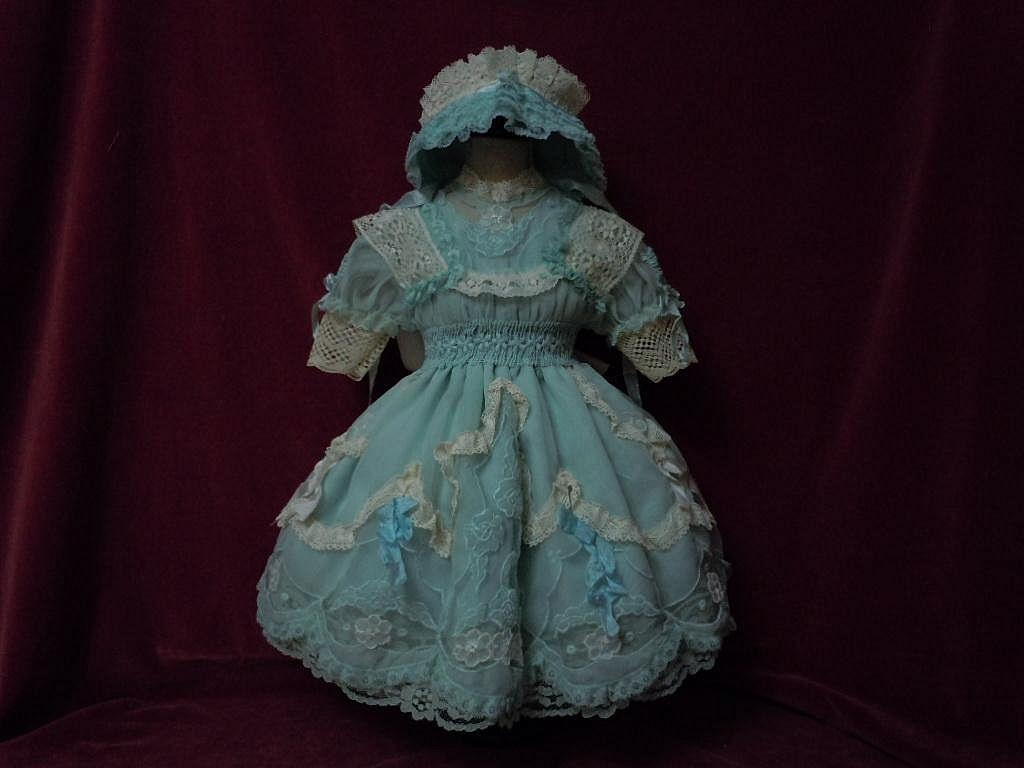 Gorgeous aquamarine organza Dress w/ Petticoat Bonnet for german french bisque doll