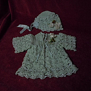 Aquamarine Wool Silk Sweater Bonnet  for antique doll