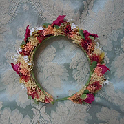 Vintage mid century flowers Stamens Wreath for Crown Door