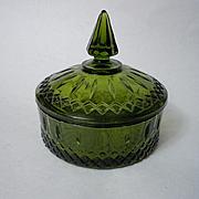 Vintage Glass Olive Green Lidded Candy Dish