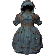 Beautiful greyish blue organza Dress w/ Petticoat Bonnet for german french bisque doll