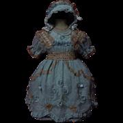 Beautiful greyish blue organza Dress w/ Petticoat Bonnet for german french bisque doll