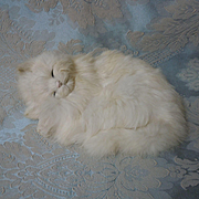 Lovely real rabbit fur Sleeping Cat Figurine Ideal for dolls Decor
