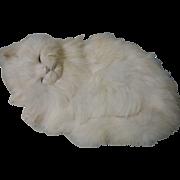 Lovely real rabbit fur Sleeping Cat Figurine Ideal for dolls Decor