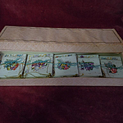Exquisite Old cardboard Box w/ 30 miniature fold greeting cards gild threads for antique doll decor