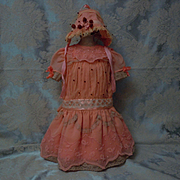 Charming Salmon Coral Organza Dress w/ Bonnet for huge bisque doll