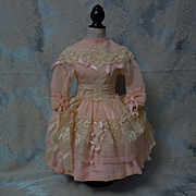 Beautiful Salmon Rose crepe Dress w/ Petticoat for german or french bisque doll