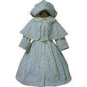 All Original Antique Embroidered french Pique Coat and Bonnet for huge doll