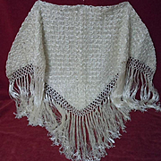 Gorgeous  vintage wedding Shawl handmade with wool and pure silk threads
