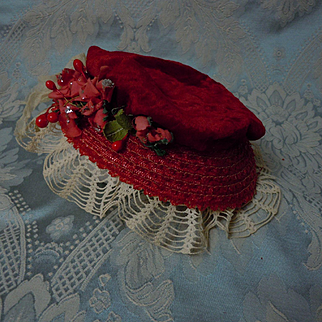 Beautiful Red Velvet soft straw doll Hat