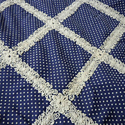 Vintage Dotted Cotton Fabric w/ Embroidery 76 inches x 44 inches
