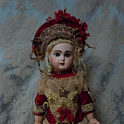 Gorgeous Red Velvet Sequins Star Dress and Hat for antique french Bebe Jumeau doll