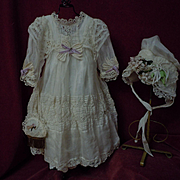 Exquisite Organza Dress Taffeta Slip Bonnet Purse for french bebe Jumeau Steiner Eden Bru doll