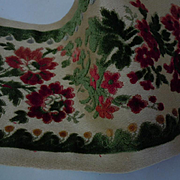 Beautiful Vintage Belgium Velvet floral Panel Passementerie