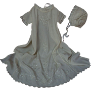 Exquisite Antique Embroidered Silk Gown Bonnet Slip
