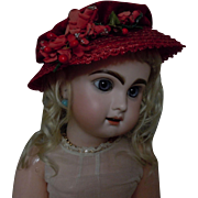 Lovely Red Velvet soft straw doll Hat