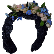 Lovely Rosettes and forget me nots soft straw Tiara Headband