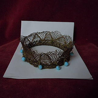 Couture Crown aquamarine pearls for cabinet sized french bebe or wax doll