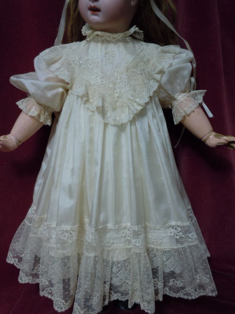 Exquisite antique pure silk Dress for french Bebe Jumeau Steiner doll