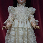 Exquisite Antique pure silk Dress for french Bebe Jumeau Steiner bisque doll