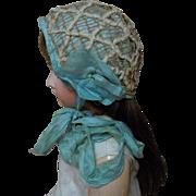 Superb All Original 19th Century Antique doll Bonnet