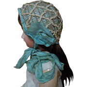 Superb All Original 19th Century Antique doll Bonnet