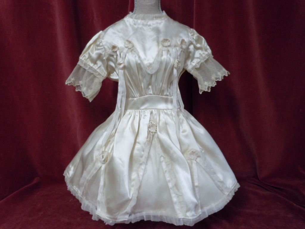 Exquisite Antique sateen Net lace Dress Bonnet for french Bebe Jumeau Steiner doll