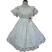 Original Antique white work batiste Dress for french bebe Jumeau Steiner doll