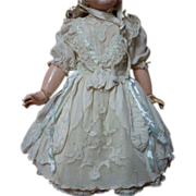 Marvelous lace insertion Taffeta Dress Petticoat and Bonnet for antique german french bisque doll