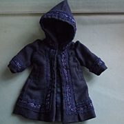 Marvelous Old tiny hooded Coat for french Bleuette cabinet size doll